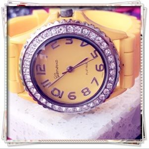 Geneva Yellow Silicone Watch with Rhinestones